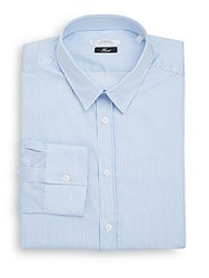 Versace Trend Fit Striped Dress Shirt White Blue