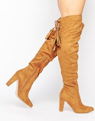 Missguided Heeled Over The Knee Boot With Lace Up Back Tan