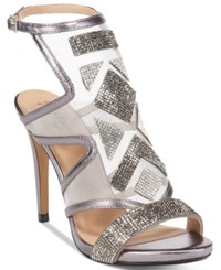 Thalia Sodi Regalo Embellished Sandals Only At Macy's Women's Shoes Pewter