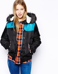 Bellfield Padded Jacket With Faux Fur Hood Black
