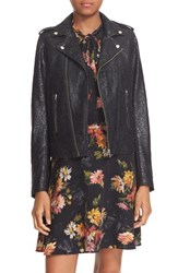 The Kooples Women's 'Perfecto' Waxed Lace Jacket Black