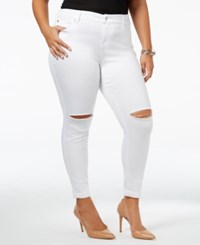 Celebrity Pink Trendy Plus Size Ripped Jeans Optic White