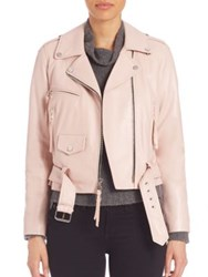 Milly Belted Leather Moto Jacket Petal
