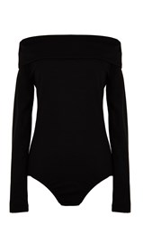 Tibi Wool Jersey Off The Shoulder Bodysuit