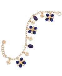 Charter Club Gold Tone Blue Stone Flower Charm Bracelet Only At Macy's