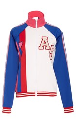 Anna Sui Varsity Knit Cheer Jacket White Blue Red