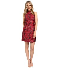 Aidan Mattox Mock Neck Lurex Jacquard Cocktail Dress Red Multi Women's Dress