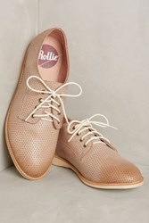 Anthropologie Rollie Nation Derby Pin Punch Oxfords Silver