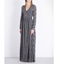 Missoni Wrap Metallic Knit Maxi Dress Grey
