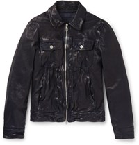 Neil Barrett Archive Washed Leather Jacket Navy