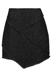 Maje Asymmetric Metallic Tweed Mini Skirt Black