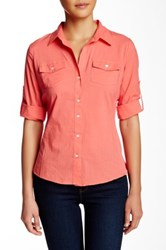Sandra Ingrish Solid Blouse Petite Orange