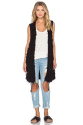 Free People Rolling Stone Furry Vest Black