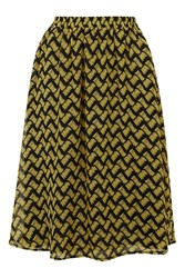 Quartered Black And Yellow Sketch Print Skirt By Goldie Multi