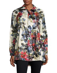 Karen Kane Floral Windbreaker Jacket Blue Red