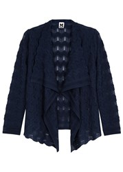 M Missoni Dark Blue Zigzag Wool Blend Cardigan Navy