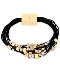 Kenneth Cole New York Two Tone Multi Layer Black Cord Magnetic Closure Bracelet