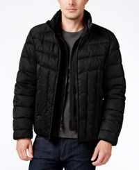 Perry Ellis Men's Colorblocked Quilted Puffer Coat With Removable Bib Black