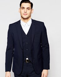 Asos Slim Suit Jacket In Navy Navy
