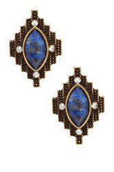 Steve Madden Aztec Stone Stud Earrings Metallic
