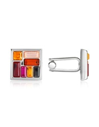 Forzieri Multicolor Crystal Silver Plated Cufflinks