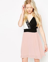 Jasmine Color Block Dress With Lace Detail Nude