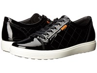 Ecco Soft 7 Quilted Tie Black Powder Women's Lace Up Casual Shoes Blue
