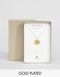 Dogeared Maya Angelou Legacy By Gold Plated You Alone Are Enough Engraved Reminder Necklace Gold