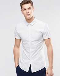 Asos Skinny Shirt In Micro Stripe With Short Sleeves White