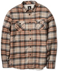 Element Outback Plaid Long Sleeve Button Down Shirt Cement