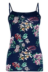 Oasis Malay Placement Print Cami Navy