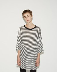 R 13 Oversized Stripe Boyfriend Tee Super Faded Black