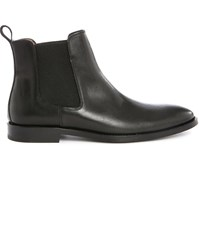 Anthology Paris Black Smooth Leather Boots With Elastic