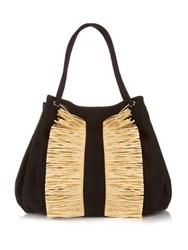 Sanayi 313 Chachacha Raffia Trimmed Canvas Tote Black Cream