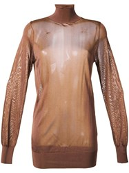 Theatre Products Roll Neck Transparent Top Brown