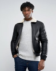 Pull And Bear Pullandbear Faux Leather Aviator Jacket With Fur Collar In Black Black
