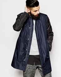 Asos White Single Breasted Trench Coat Navy