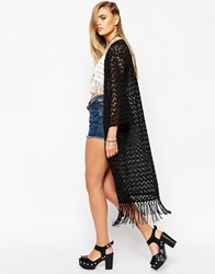 Crochet Lace Kimono With Fringing Black