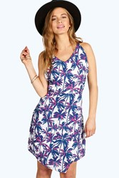 Boohoo Vickie Palm Tree Print Dress Pink