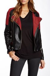 Fillmore Moto Cross Mixed Media Faux Leather Jacket Red