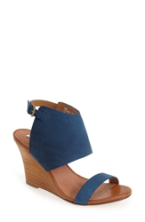 Halogen 'Clarette' Suede Wedge Sandal Women Navy