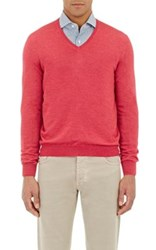 Barneys New York Men's V Neck Sweater Red