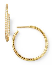 30Mm Yellow Gold Diamond Hoop Earrings 0.98Ct Roberto Coin Red