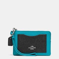 Coach Corner Zip Wristlet In Colorblock Leather Silver Black Turquoise