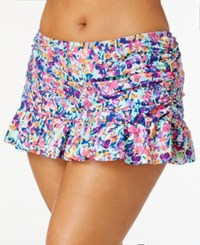 Kenneth Cole Reaction Plus Size Multicolor Ruched Swim Skirt Women's Swimsuit