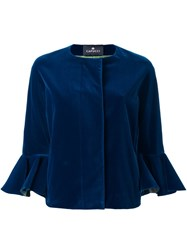 Capucci Flared Cuff Cropped Jacket Blue