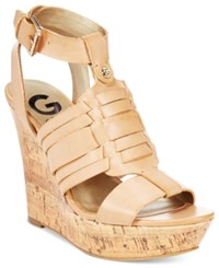 G By Guess Distinct Platform Wedge Sandals Women's Shoes Natural