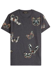 Valentino Cotton T Shirt With Butterfly Patches Blue