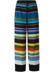 Missoni Signature Zig Zag Knit Wide Leg Trousers Multicolour