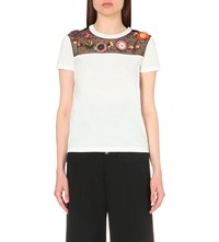 Red Valentino Floral Applique Cotton T Shirt Bianco
